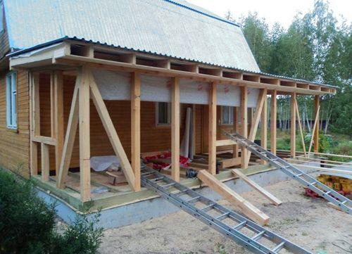 Процесс строительства веранды