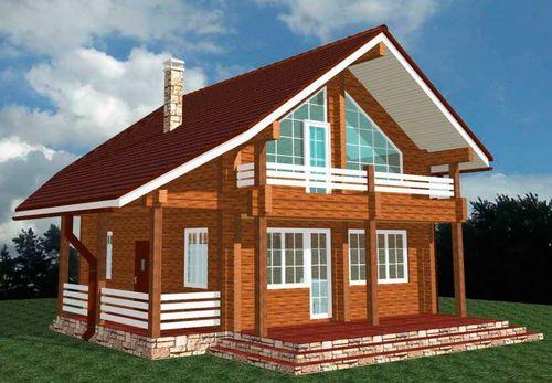 Дом из бруса с балконом: проект двухэтажного с верандой и ма.